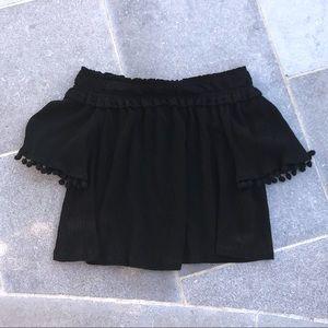 💜 3/25$ TOPSHOP Black Pom Pom Trim T-Shirt
